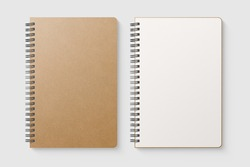 Real photo, blank spiral bound notepad mockup template with Kraft Paper cover, isolated on light grey background. High resolution.