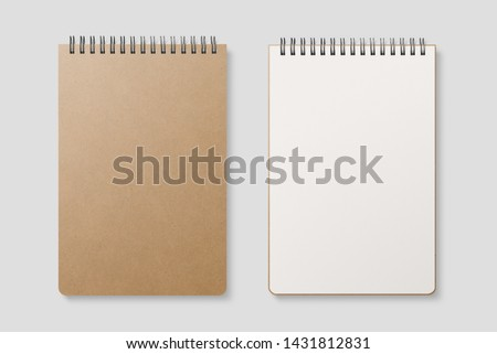 Real photo, blank spiral bound notepad mockup template with Kraft Paper cover, isolated on light grey background. High resolution. Stock photo ©