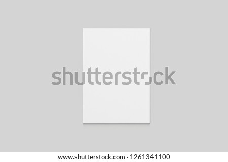 Real photo, brochure mockup template, softcover, isolated on soft grey background to place your design.High resolution photo. #1261341100