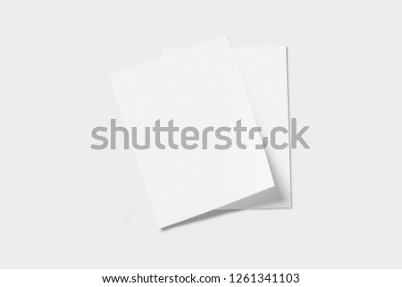 Real photo, brochure mockup template, softcover, isolated on soft grey background to place your design.High resolution photo. #1261341103