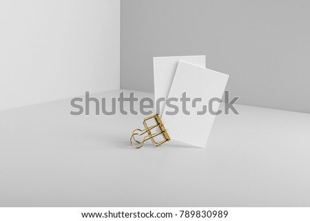 Real photo, business card mockup template, isolated on light grey background to place your design.  - Shutterstock ID 789830989