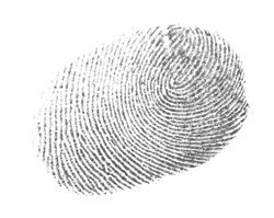 real photo fingerprint isolation on white background, with clipping path