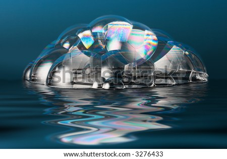 Real photo of a few soap bubbles with water reflection effect