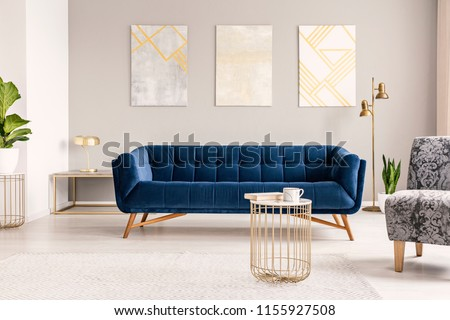 Real photo of a modern living room interior with a sofa, paintings, coffee table and lamp #1155927508