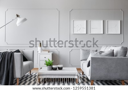 Real photo of an elegant living room interior with a low coffee table, sofas and three graphics #1259551381