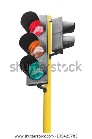 Real photo of traffic light isolated on white background