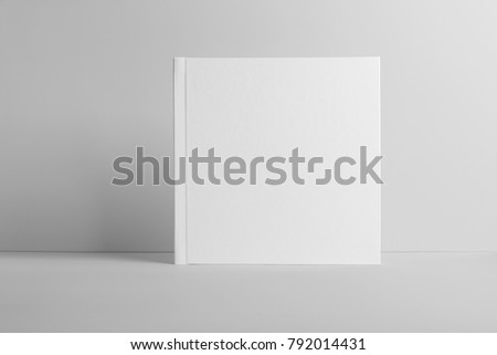 Real photo, square brochure, booklet, magazine mockup template, isolated on light grey background to place your design.