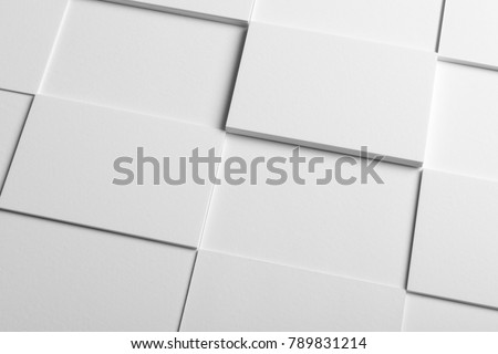 Real photo stack of business cards mockup template, isolated on light grey background to place your design.
