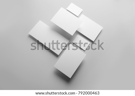 Real photo, stationery branding mockup template, isolated on light grey background to place your design.  - Shutterstock ID 792000463