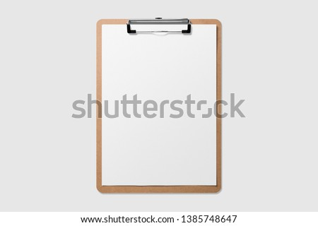 Real photo, wooden clipboard with blank a4 paper mockup template, isolated on light grey background.