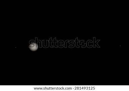 Real picture Jupiter with satellites Europa, Io, Ganymede, Callisto