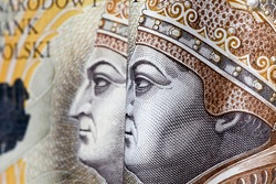 real Polish zlotys in the obverse with a portrait of the king, close-up of cash, national money of Poland
