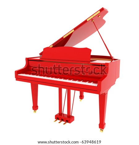 Real red grand piano isolated on white