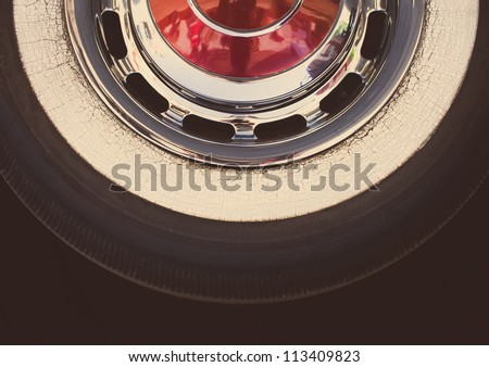 Real retro tire, withe vintage look editing - stock photo