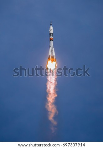 Real Rocket in Flight, Launch Rocket From the Baikonur Cosmodrome, a Flying Rocket in the Sky