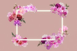real rose,orchid flower frame with square in pink vintage tone with copy space for valentine