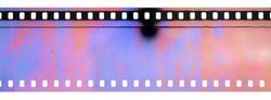 real scan of 35mm cine film material with broken scanner, scanning light interferences on long filmstrip, dusty film texture.