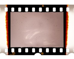 Real scan of 35mm film dia frame or strip on white with burned edges and film grain and dust or signs of usage, placeholder for your images to let them look retro and aged