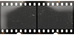 real scan of two empty or blank film frames with dust and scratches isolated on white background, 35mm film.