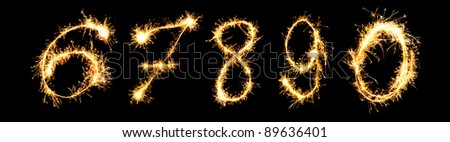 Real Sparkler Digits. See other digits in my portfolio.  6 7 8 9 0