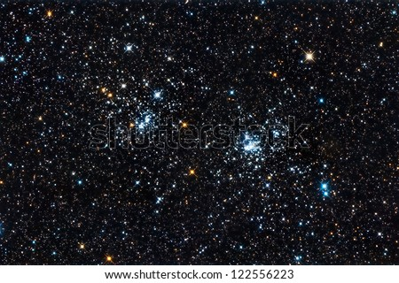 Real starfield with the double star cluster in Perseus captured with an amateur telescope