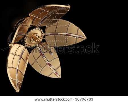 Real streampunk mechanical flower isolated on black background - stock photo