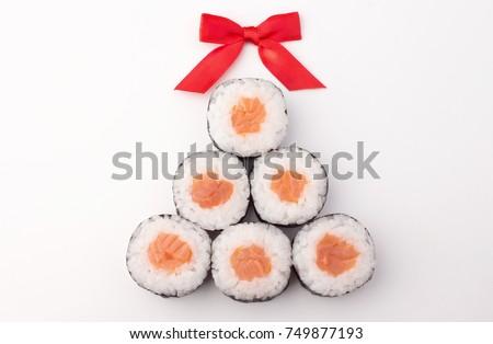 Real sushi christmas tree (New Year)