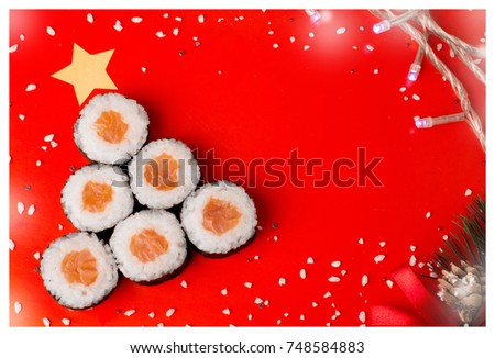 Real sushi christmas tree with star. Holiday (New Year)