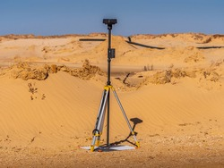 Real Time Kinematic data collection unit set up above aerial ground control point to ensure maximum drone aerial data accuracy.