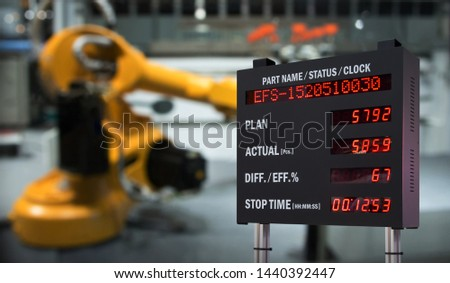 Real time monitoring system industry display screen in automation robot arm machine smart factory industrial. Industry 4th iot concept , digital manufacturing operation..