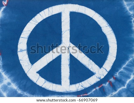 Real tye dye Peace Symbol on cotton knit material.