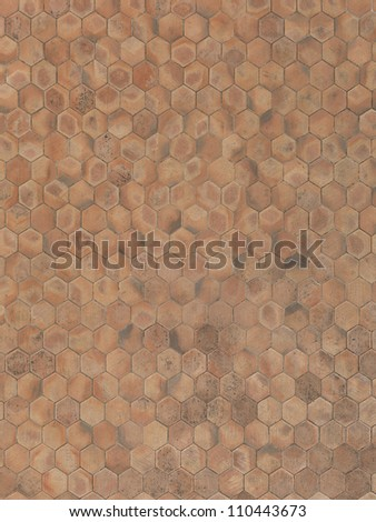 real unstitched terracotta hexagon stone floor