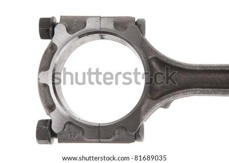 real used aluminum piston isolated over white background