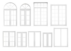 Real vintage house window frame set collection isolated on white background