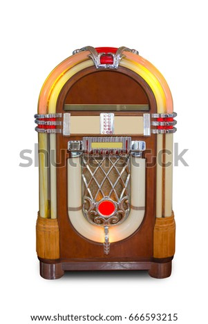 Real vintage jukebox retro music player isolated on white background #666593215