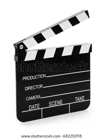 Real Vintage Wooden Film Slate isolated on white background.