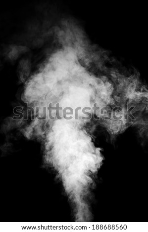 Real white steam isolated on black background with visible droplets. Сток-фото ©