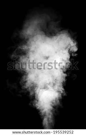 Real white steam isolated on black background with visible droplets. #195539252