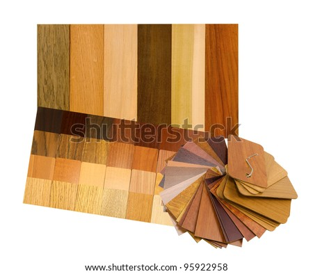 real wood panel and laminated samples on a white background