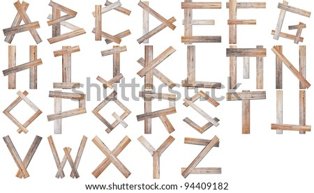 Real wooden alphabet isolated on white background in set with all Letters, ready for your Text Message, Title or Logos Design.