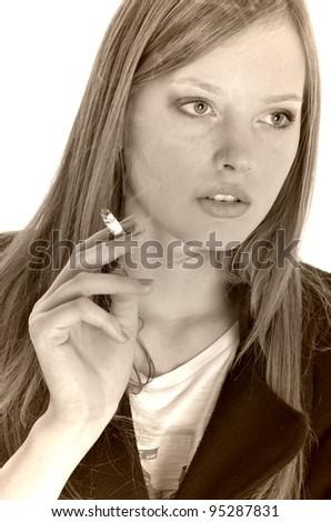 real young woman smokes