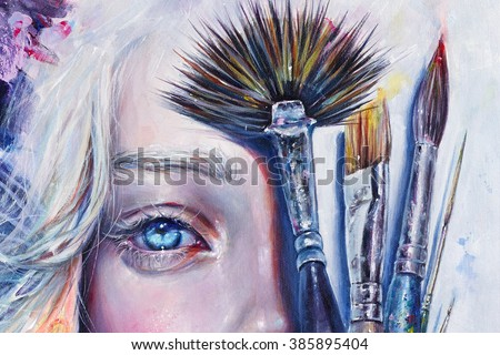 Stock Photo Realistic acrylic painting of a girl's beautiful half face with artist's brushes. Expressive look of female light blue eye and blond hair.