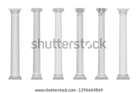 Realistic  ancient greek rome column capitals set.