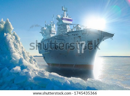 Realistic and detailed raster illustration of a giant warship (aircraft carrier) at the frosted cold sea. Background photo has taken from my archive. stock photo