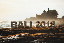 Realistic Bali 2018 3D text in tanah lot temple Bali Indonesia