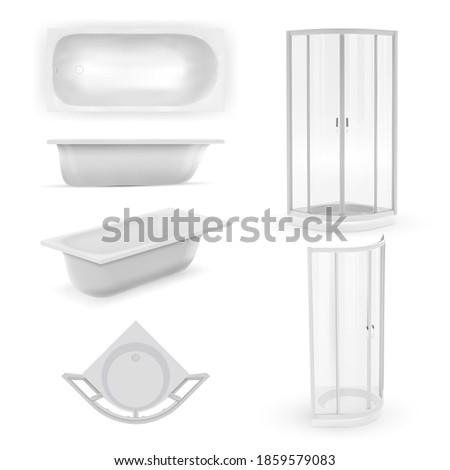 Wall mural Realistic bathtub mockup. Bathroom design interior collection. Washroom object icon illustration. realistic ceramic bathtub mockup and plastic separation wall for privacy isolated set