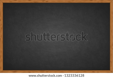 Realistic black chalkboard with wooden frame isolated on white background. Rubbed out dirty chalkboard. Empty school chalkboard for classroom or restaurant menu. Template blackboard for design