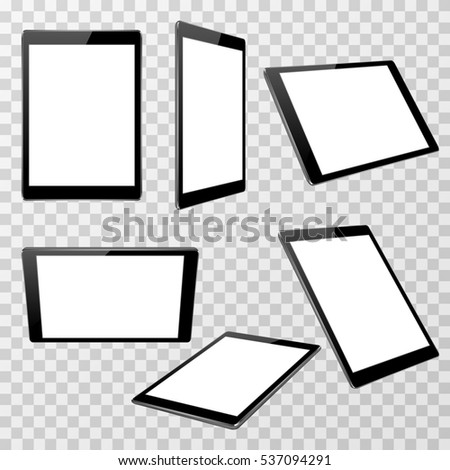 Realistic black tablet template isolated on transparent checkered background in different point of view. Device with touchscreen display illustration.