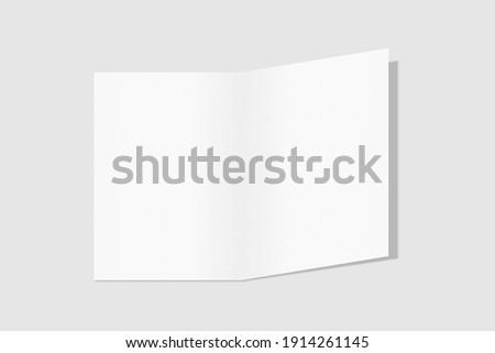 Realistic blank A4 bifold brochure for mockup. Paper illustration. 3D Render. 商業照片 ©