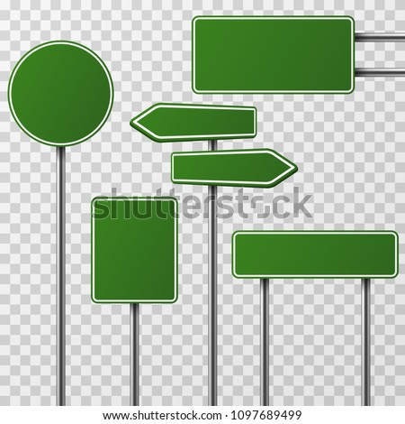 Realistic blank green street and road signs isolated . Set of street traffic sign, road signpost direction illustration #1097689499